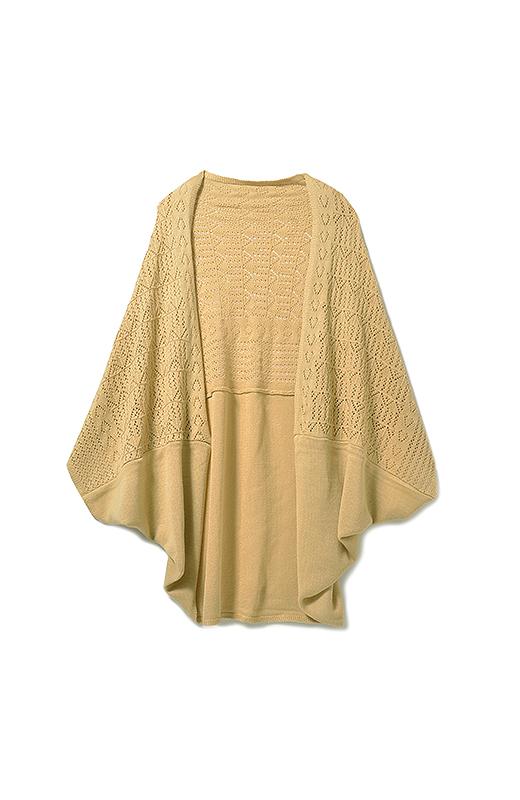 透かし編みを上に。
