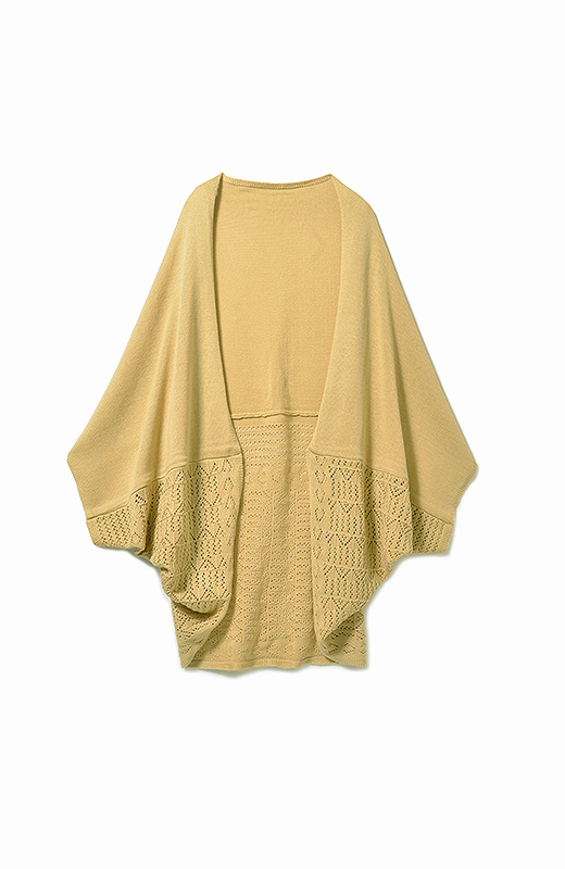 フラット編みを上に。上下を入れ替えれば、印象チェンジ!