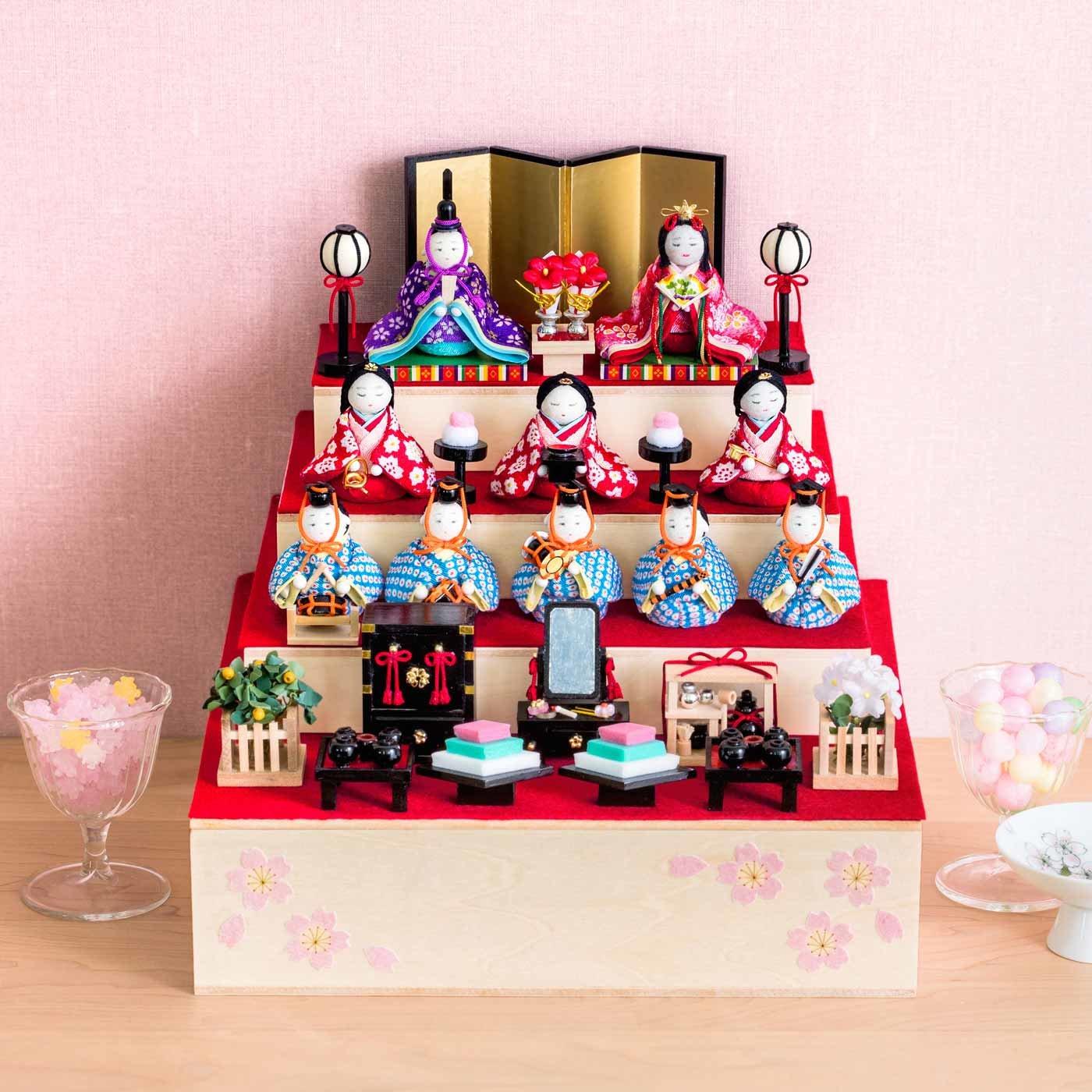 【一括購入】すこやかな成長の願いを込めて 「おひなさまミニチュア」全種類+「ひな壇飾りの木箱」セット