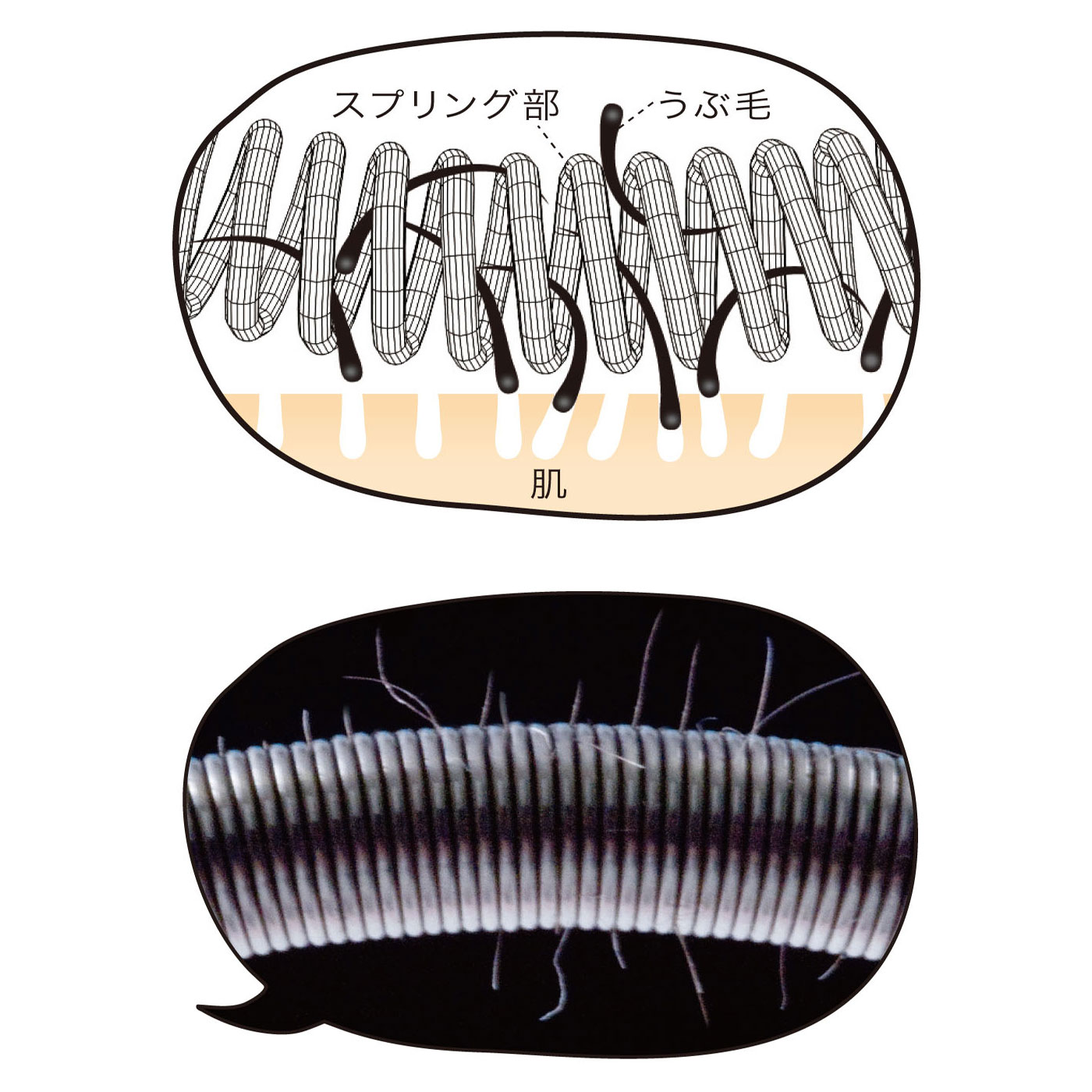 毛の流れに逆らうように転がすと、スプリング部がうぶ毛を巻き込みながら抜いていきます。