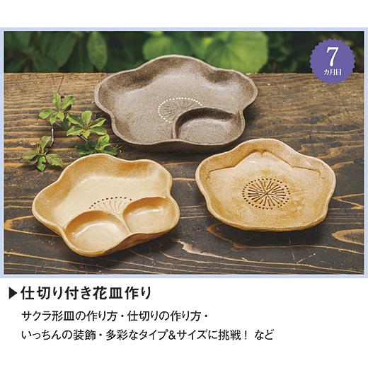 セット内容 陶土(薄山吹色約500g 1個・黒豆色約500g 1個)、サクラ形皿型小、型紙