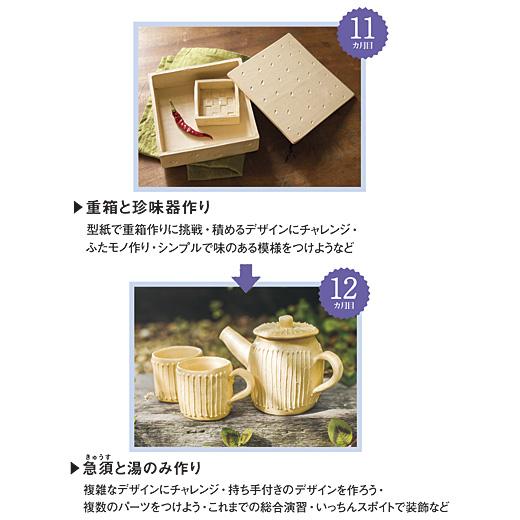 11:セット内容 陶土(象牙色約500g 2個)、型紙12:セット内容 陶土(薄山吹色約500g 2個)、型紙