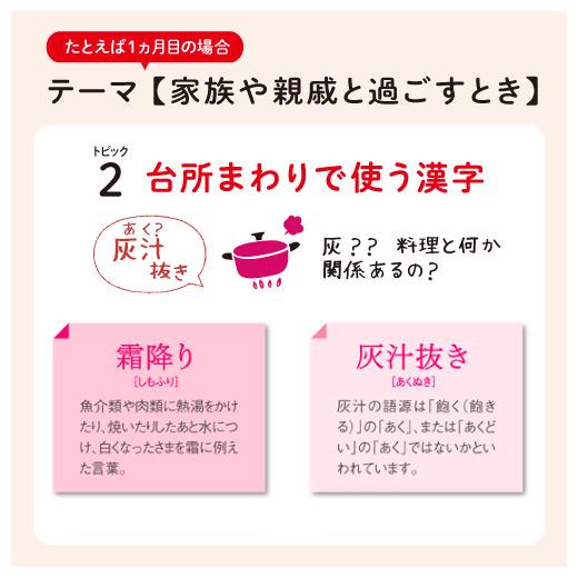 例えば1ヶ月目のトピック2はへぇと思える「台所まわりで使う漢字」。