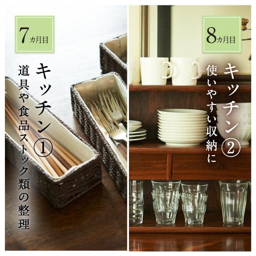 7・8ヵ月目:「キッチン」道具や食品ストック類を整理、使いやすい収納に
