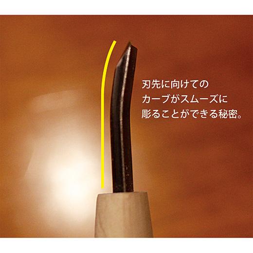 刃先に向けてのカーブがスムーズに彫ることができる秘密。