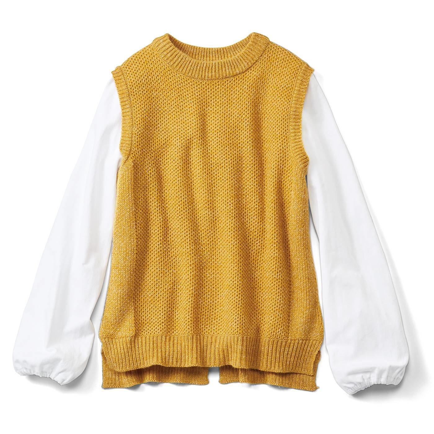 リブ イン コンフォート ミックス糸がきれいなニットベスト&ふんわり袖トップスの便利セット〈マスタード〉
