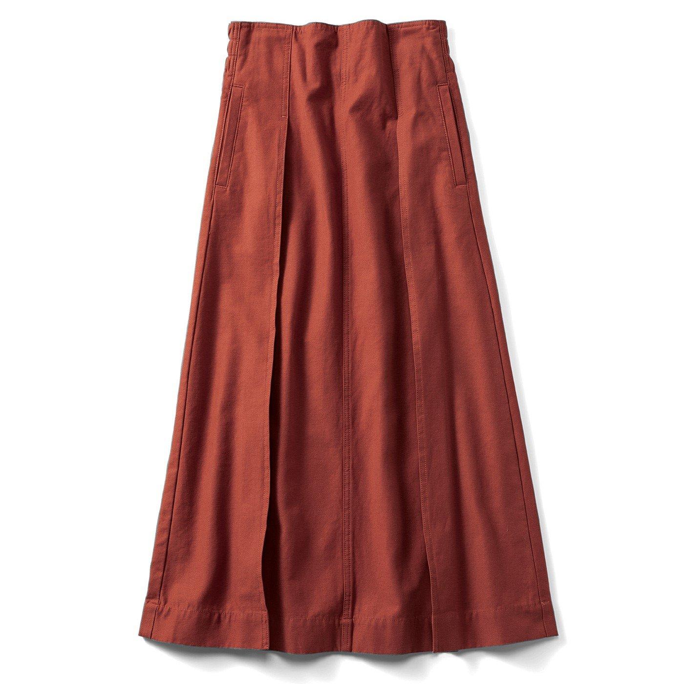 リブ イン コンフォート パンツ感覚ではけてスッキリ見える大人ワークスカート〈テラコッタオレンジ〉