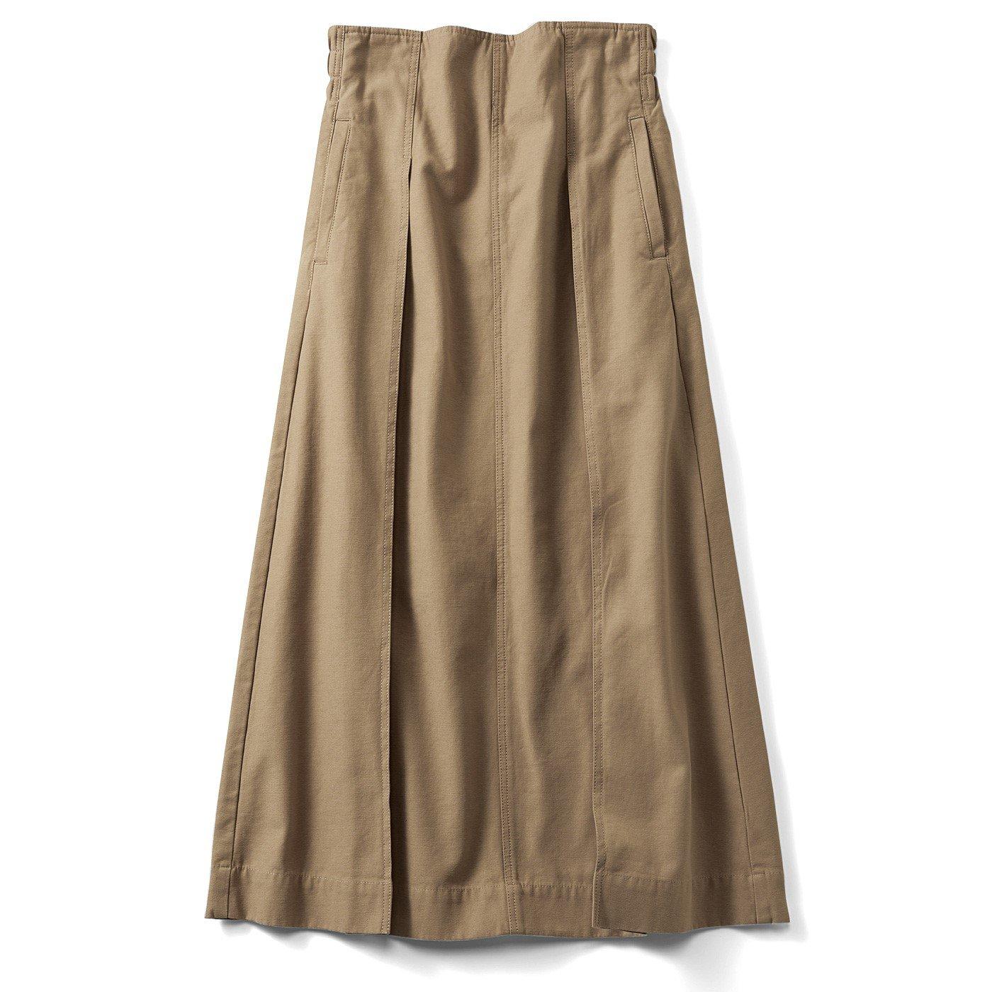 リブ イン コンフォート パンツ感覚ではけてスッキリ見える大人ワークスカート〈ベージュ〉