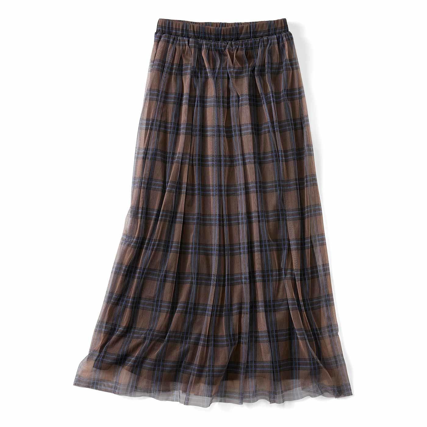 【3~10日でお届け】リブ イン コンフォート チェックチュールが華やかなふんわりギャザースカート〈チョコレートベージュ〉
