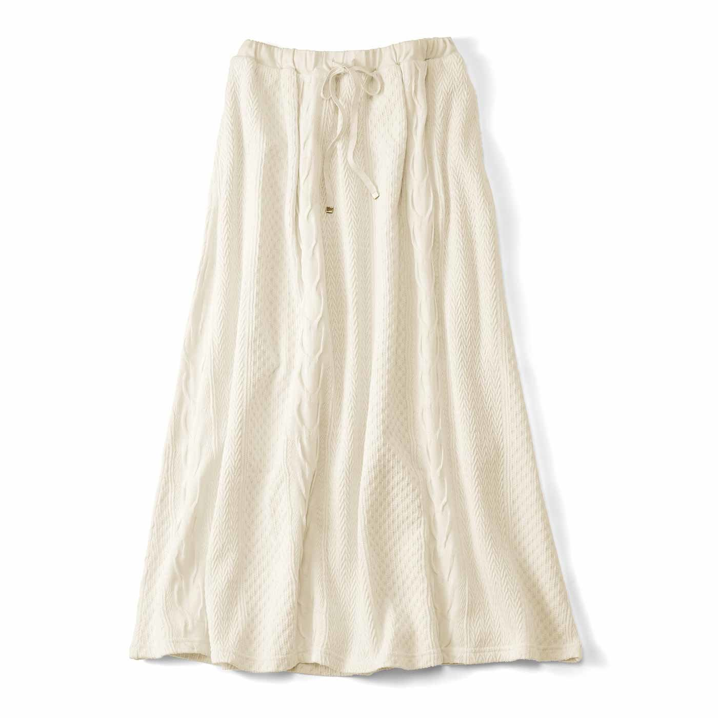 【3~10日でお届け】Live love cottonプロジェクト リブ イン コンフォート 編み柄が素敵なオーガニックコットンロングスカート〈アイボリー〉