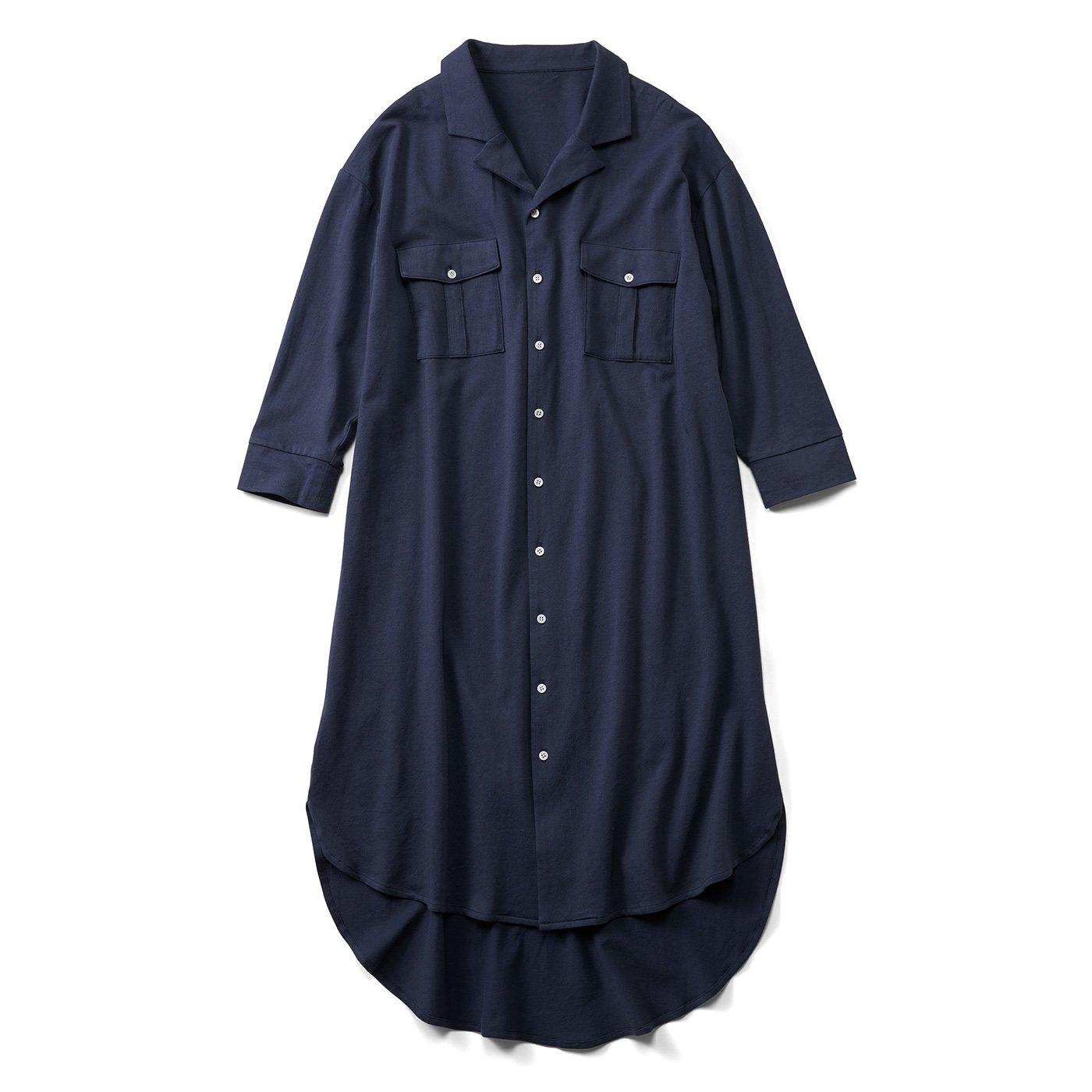 【3~10日でお届け】リブ イン コンフォート カットソー素材でらくちん! 着るだけでスタイル決まるシャツワンピース〈ブルーネイビー〉
