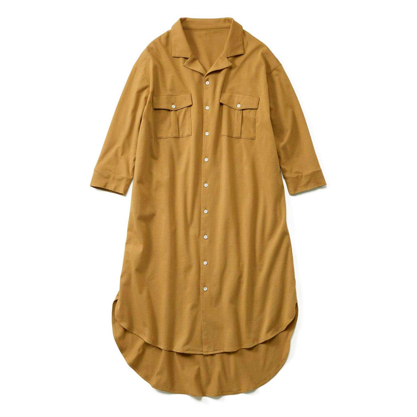 【3~10日でお届け】リブ イン コンフォート カットソー素材でらくちん! 着るだけでスタイル決まるシャツワンピース〈マスタード〉