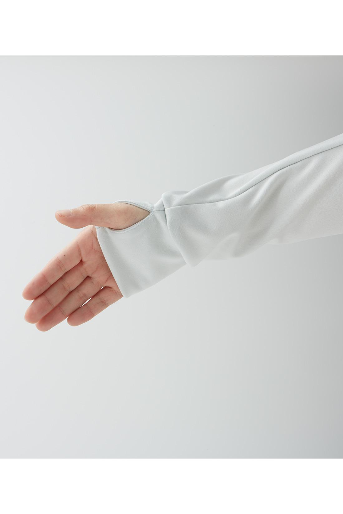 UVカット率80%。手の甲までしっかりカバー。