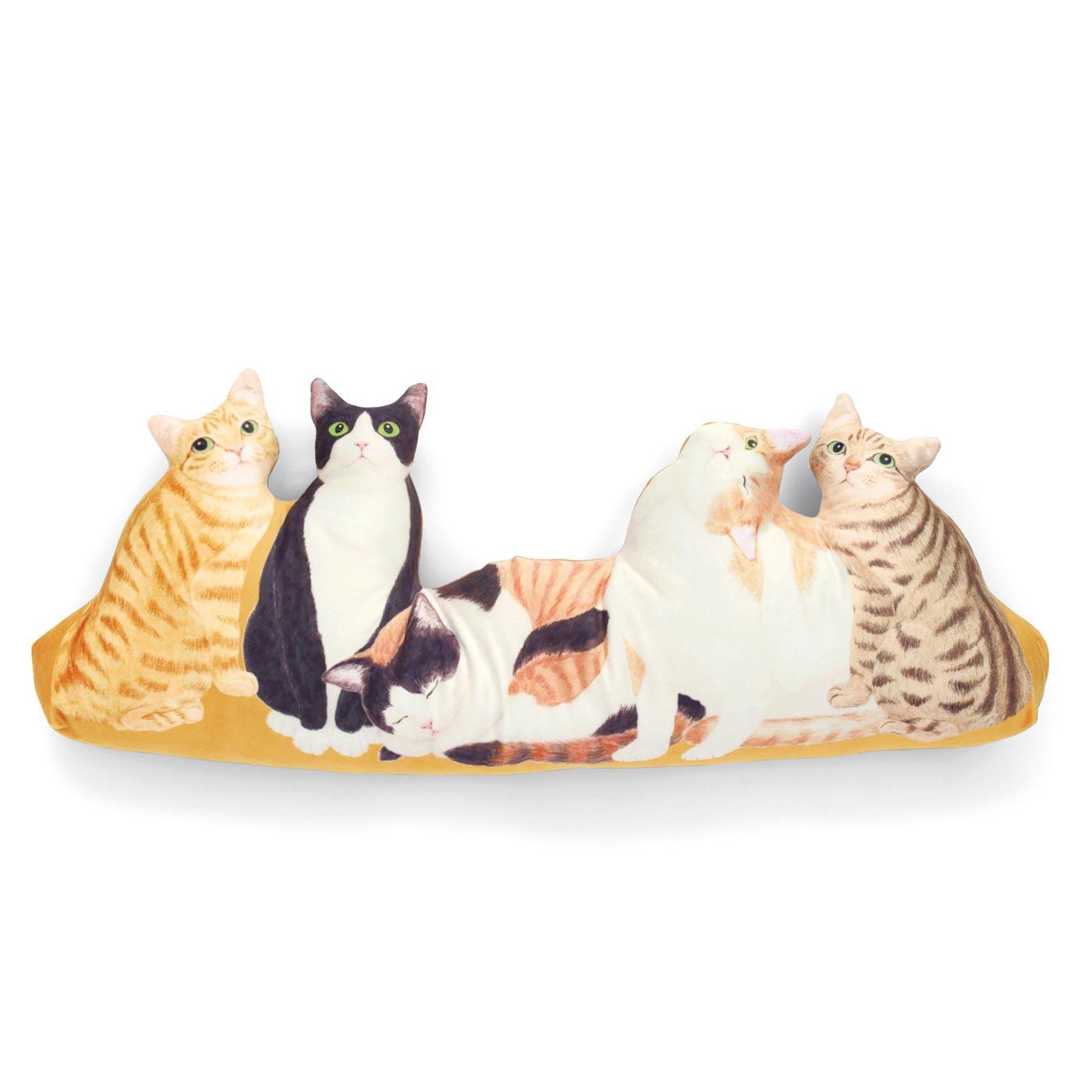 はんなり日本猫(左からトラ・ハチワレクロ・ミケ・ハチワレトラ・キジトラ)