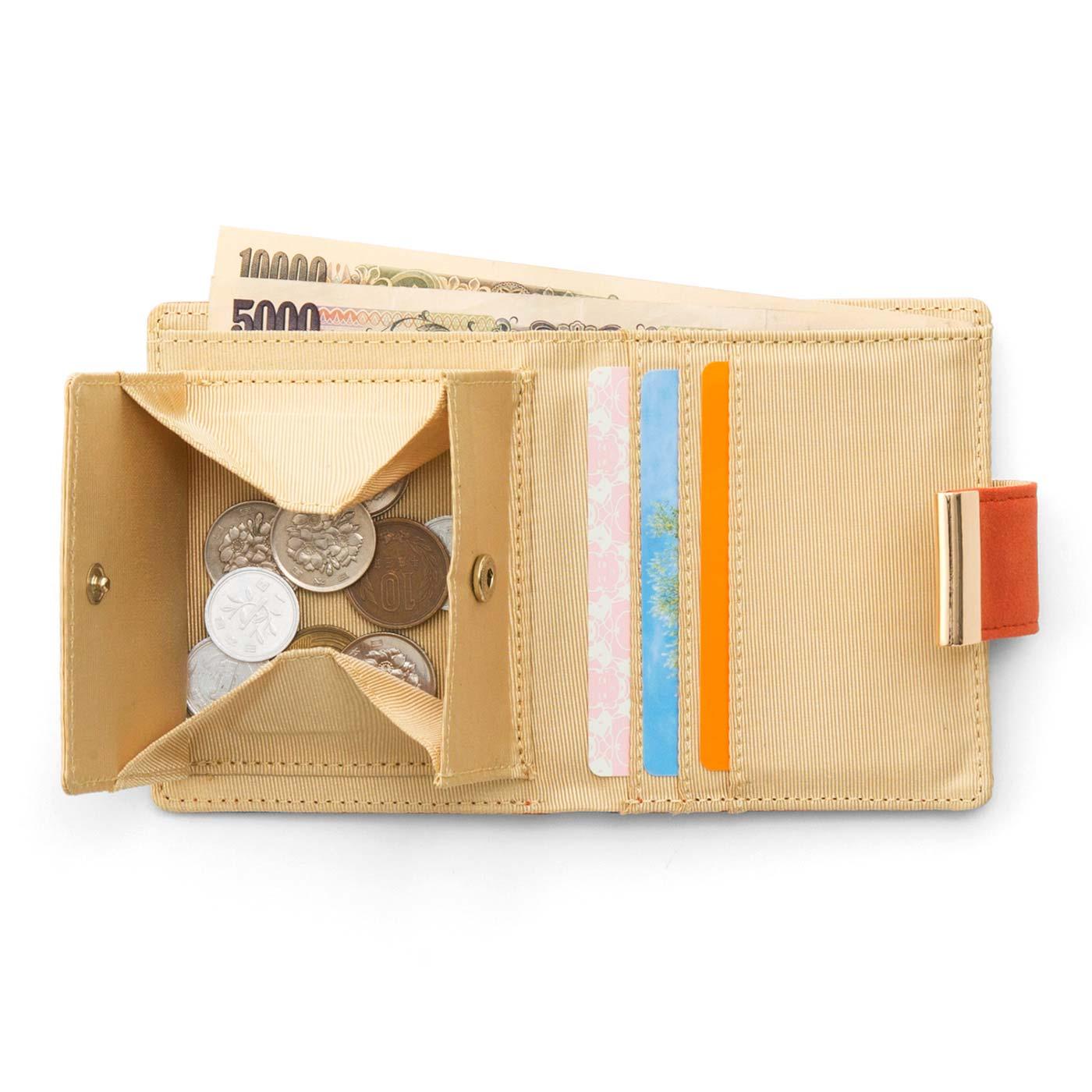 一目瞭然で取り出しやすいボックスタイプの小銭入れに、カードが3枚入るポケット付き。
