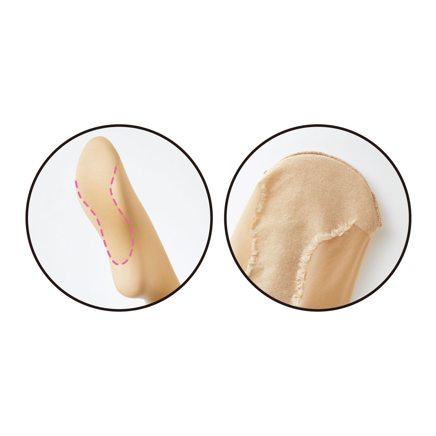 むれやすいつま先と足裏の肌側は綿糸遣いで、むれを軽減。