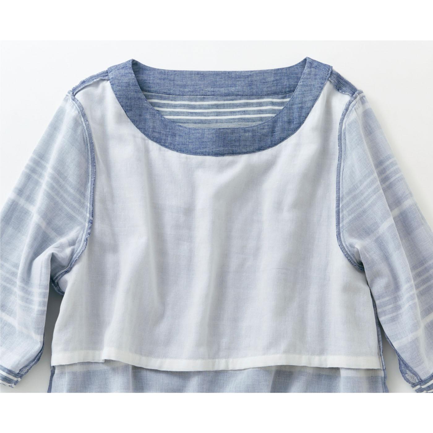 内側の胸もと部分は綿100%の当て布付きなので、ブラなしでも安心。