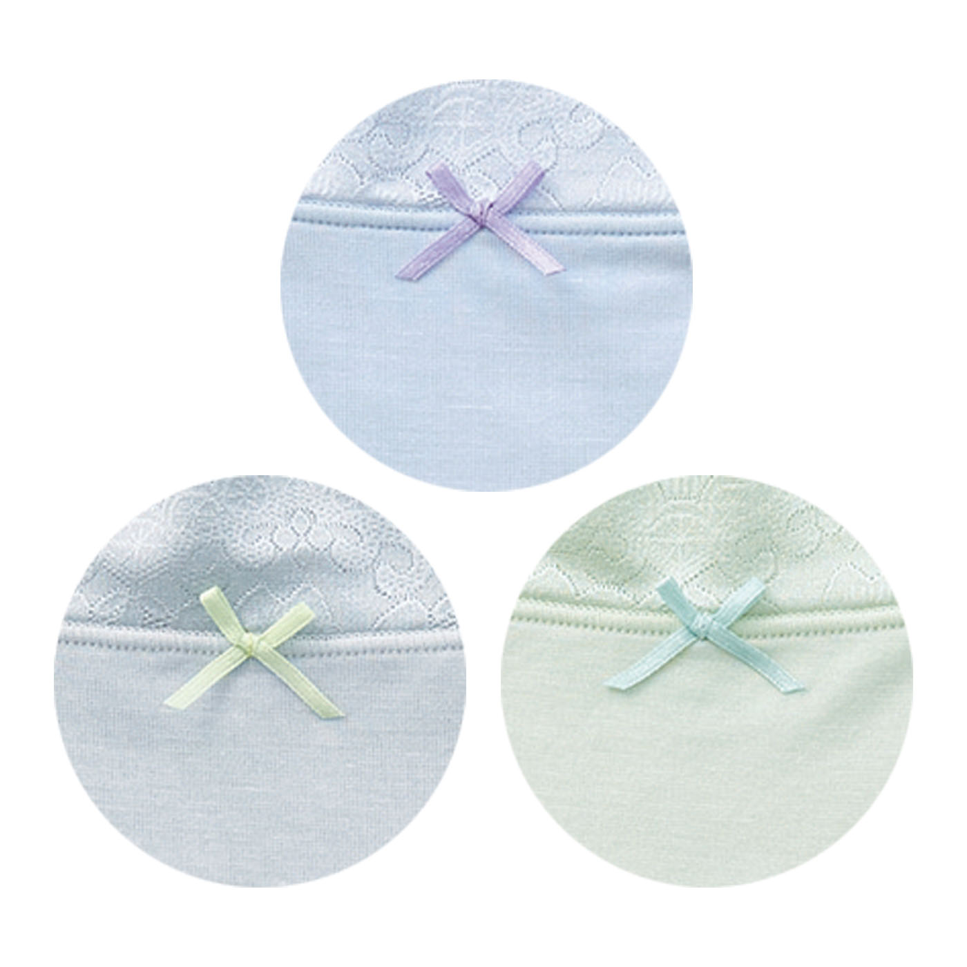 〈パウダーブルー〉〈ミスティグレー〉〈クールグリーン〉汗を吸っても透けにくい涼しげな3色。