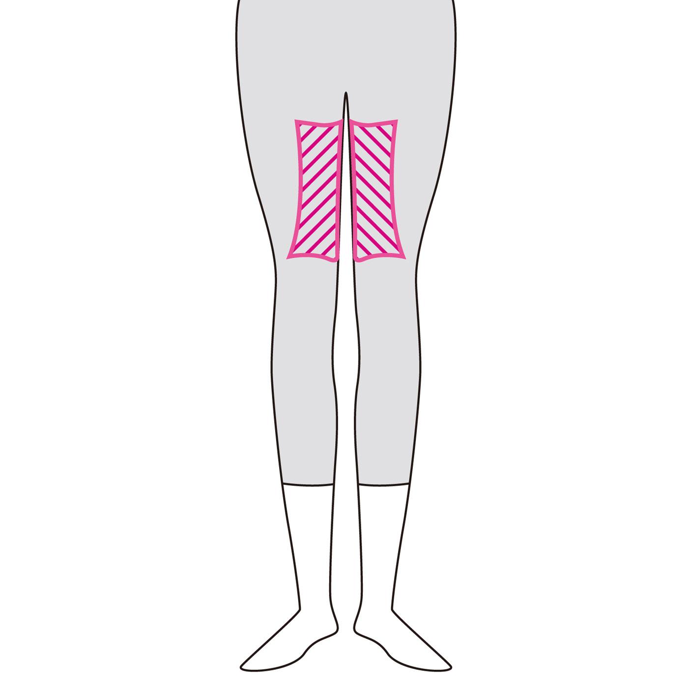 太もも内側の特殊な編み地が、歩くたびに適度な圧力をかけます。ほどよい圧迫感が心地よく、すいすい歩けるスムーズなはき心地。