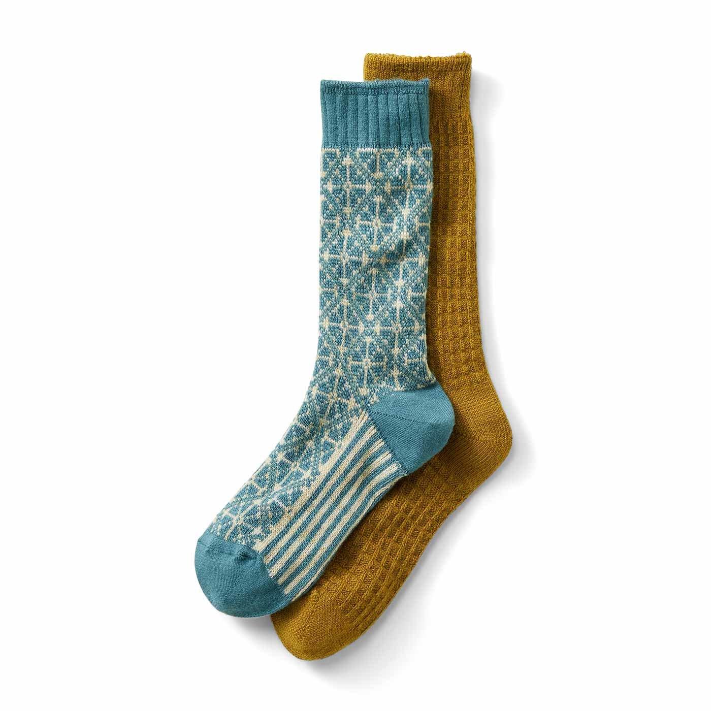 リブ イン コンフォート こっくりカラーのワッフル編みとノルディック柄のソックスセットの会