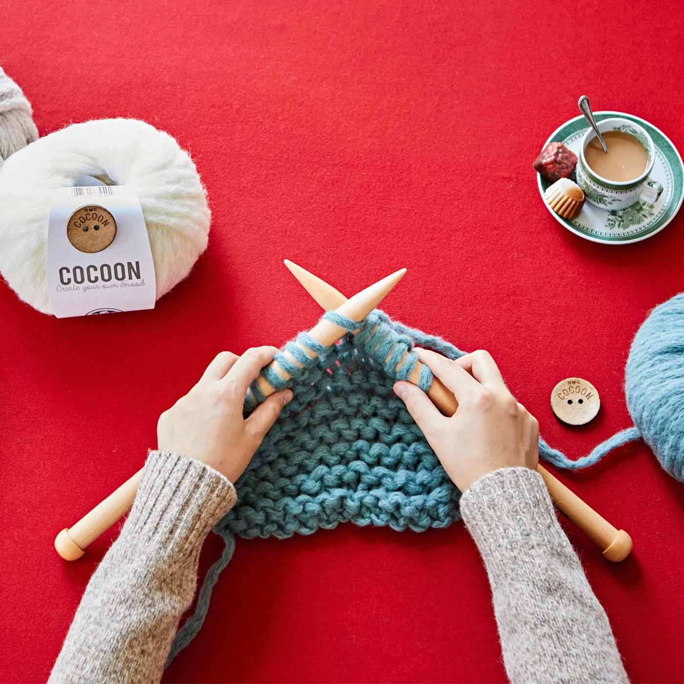 1目が大きいので、さくさく編み進められます。(※毛糸は付属しません。別途ご用意ください。)