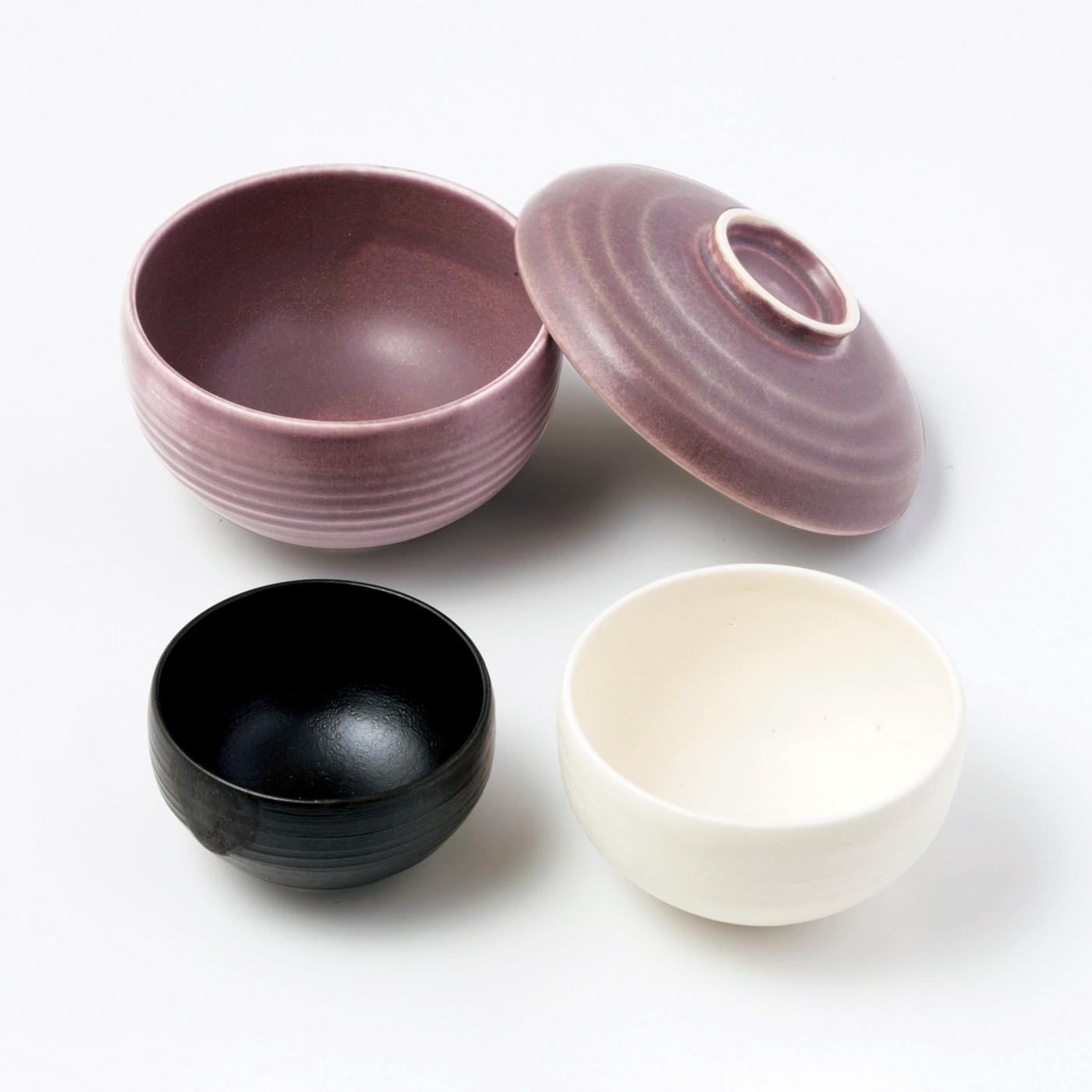 【1回のお届けセット例】大碗・中碗・小碗・ふた兼用小皿の4個セットでお届けします。