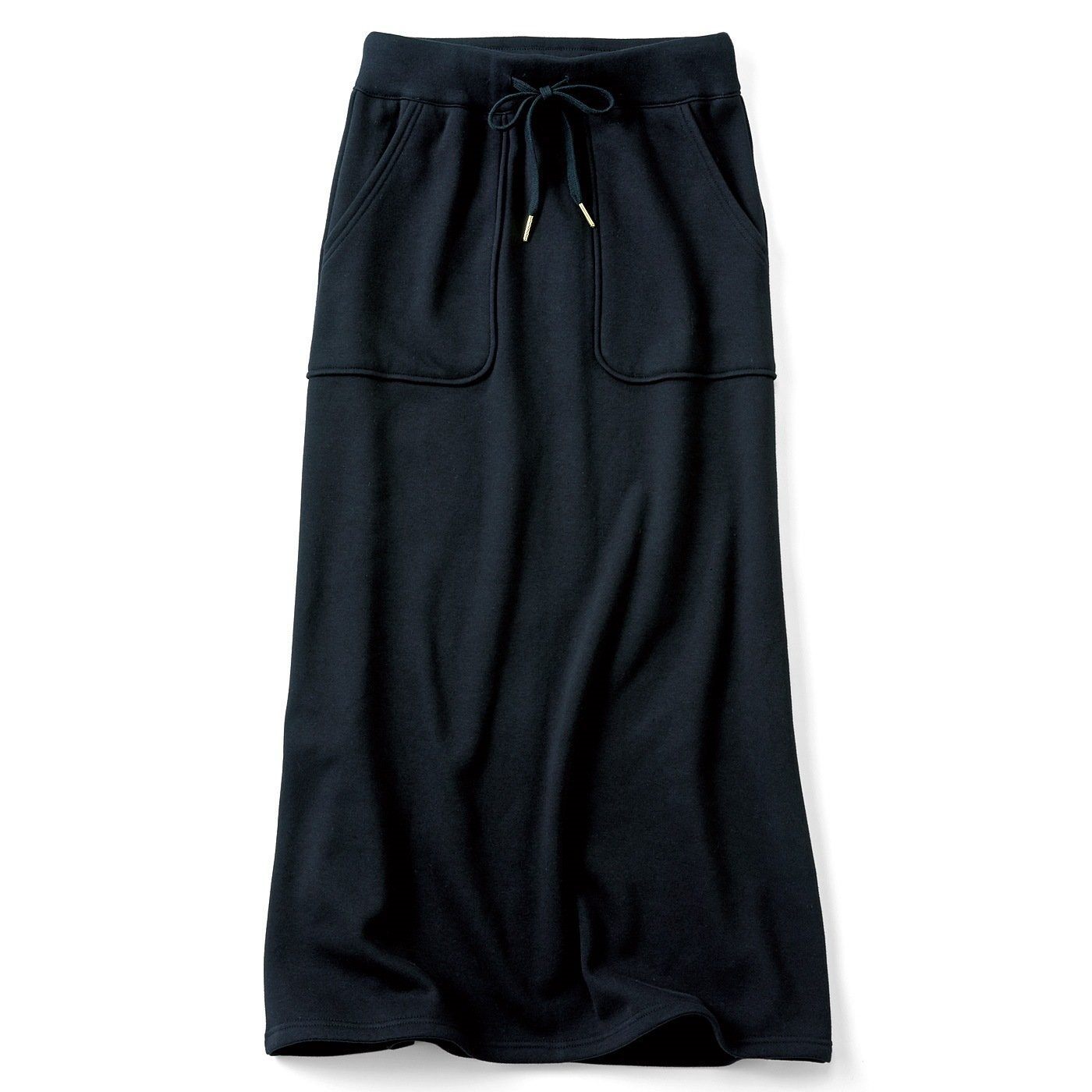 【3~10日でお届け】リブ イン コンフォート すっきり見えシルエットなのに伸びやか 裏シャギーの激ぬくロングスカート〈ブラック〉