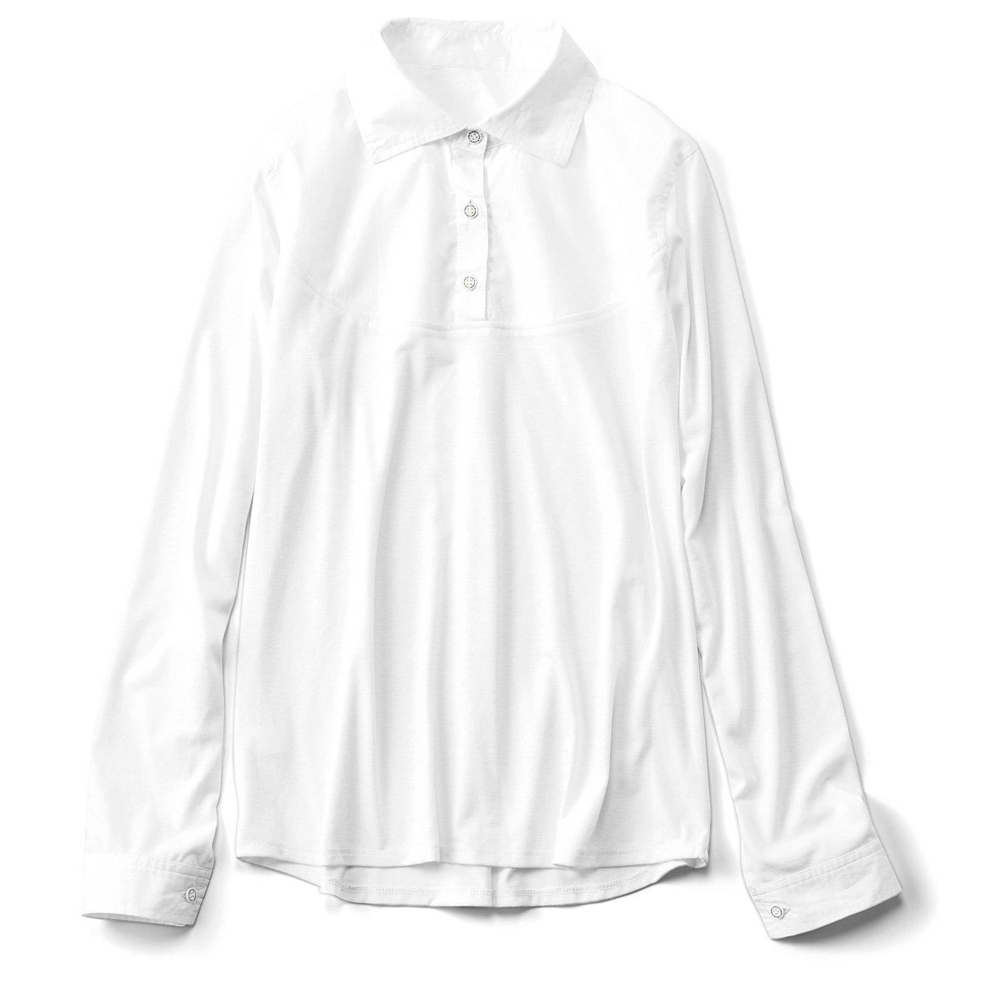 【3~10日でお届け】リブ イン コンフォート 重ね着のために作られた 衿もととカフスだけ 布はくのカットソーインナー〈ホワイト〉