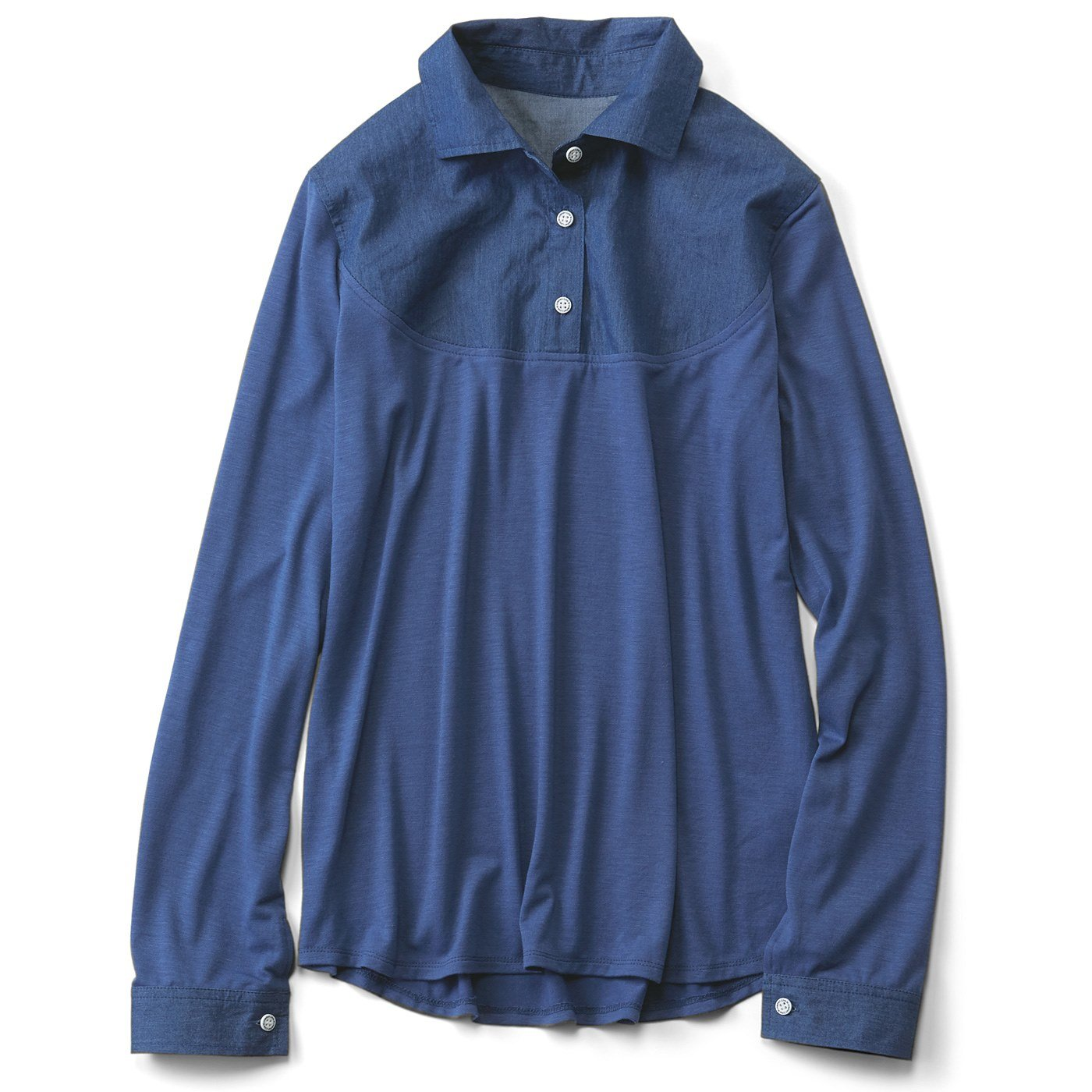 【3~10日でお届け】リブ イン コンフォート 重ね着のために作られた 衿もととカフスだけ 布はくのカットソーインナー〈ダンガリー〉