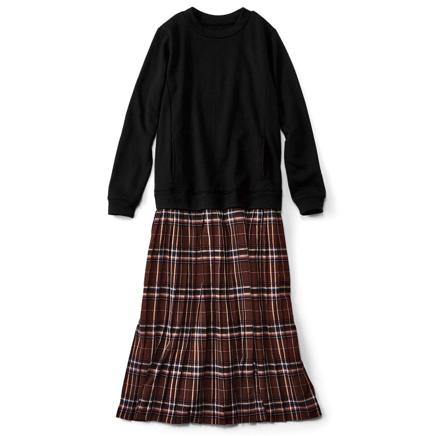 【3~10日でお届け】リブ イン コンフォート パッと着て完成! スウェット×柄プリーツスカートのらくちんドッキングワンピース〈ブラック×チェック〉
