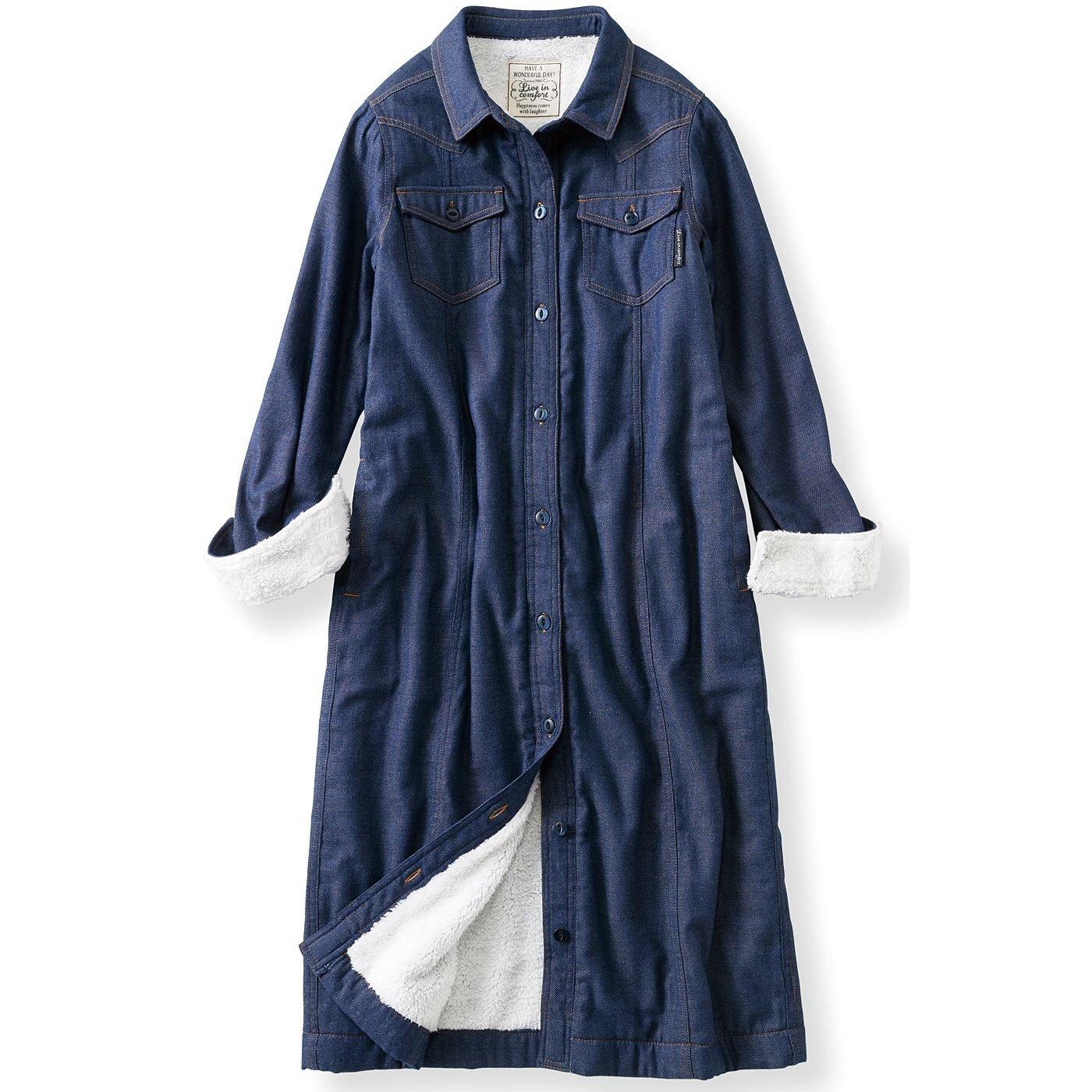 【3~10日でお届け】リブ イン コンフォート 軽やかに着られてぬくぬく みっしり裏ボアワンピコート〈ダークブルー〉
