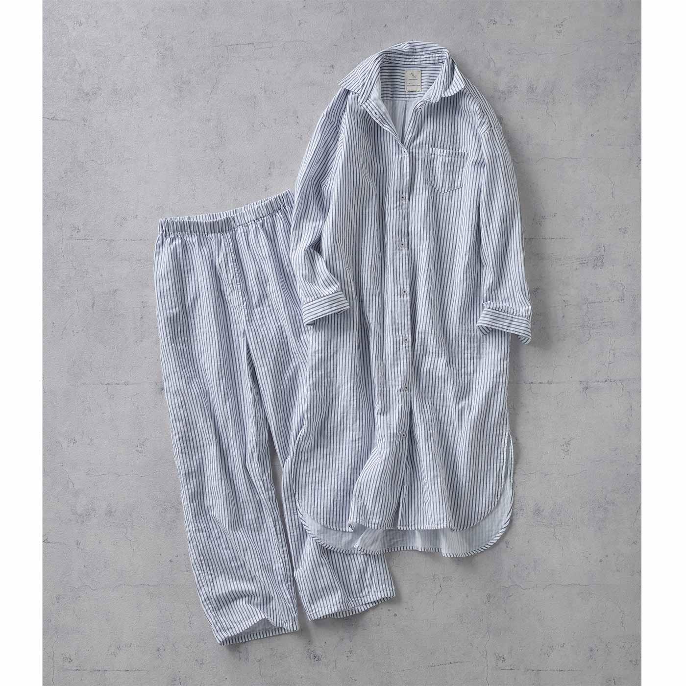 IEDIT[イディット] 外でも着られるパジャマ〈ネイビー〉
