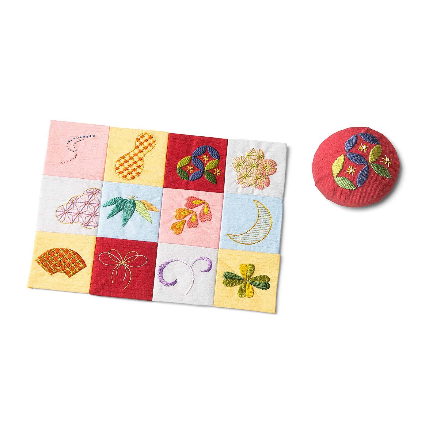サンプラーはつなげて作品として飾っても、1枚ずつくるみボタンなどにアレンジしてもかわいい。