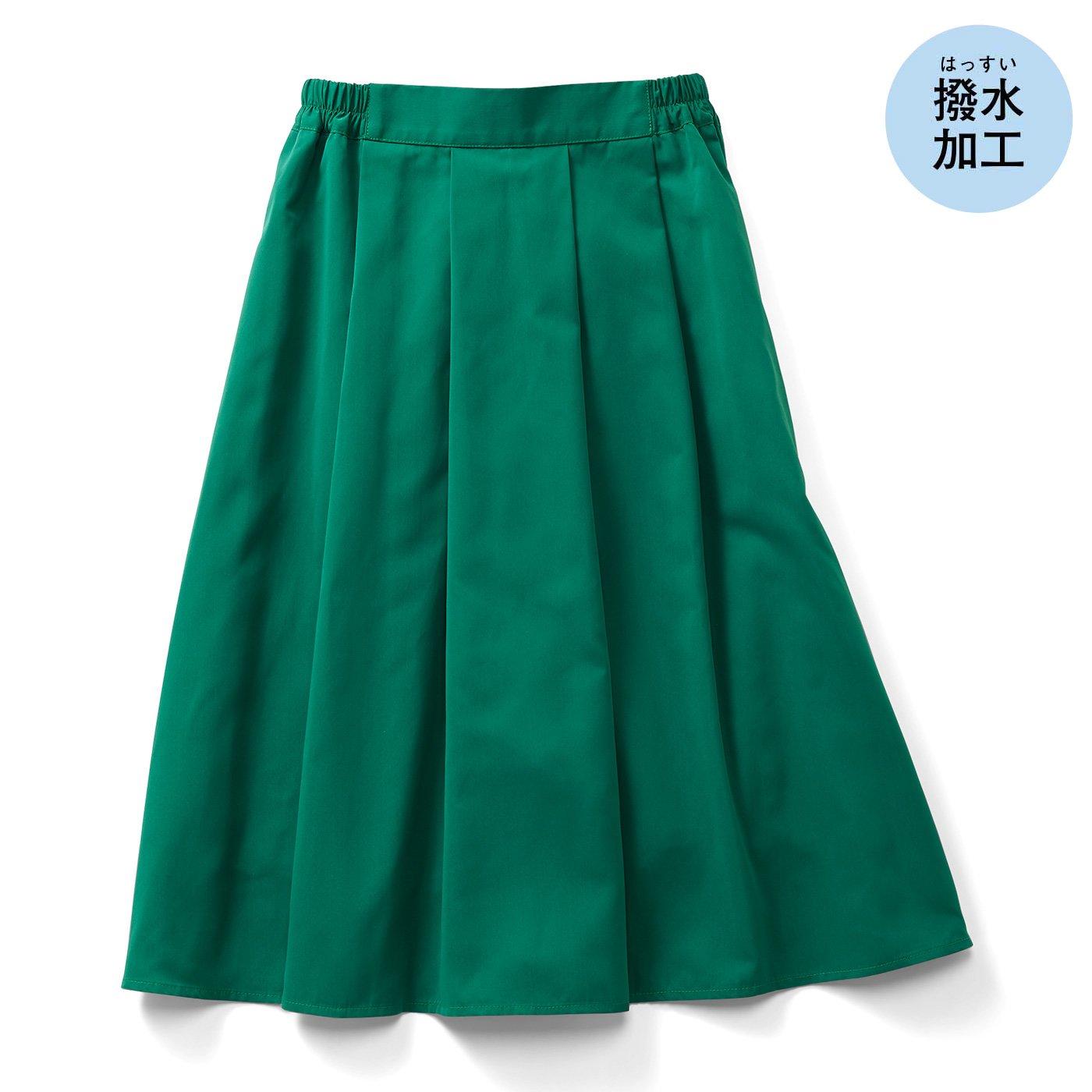 IEDIT[イディット] 撥(はっ)水機能できれいをキープする キレイ色Aラインスカート〈グリーン〉