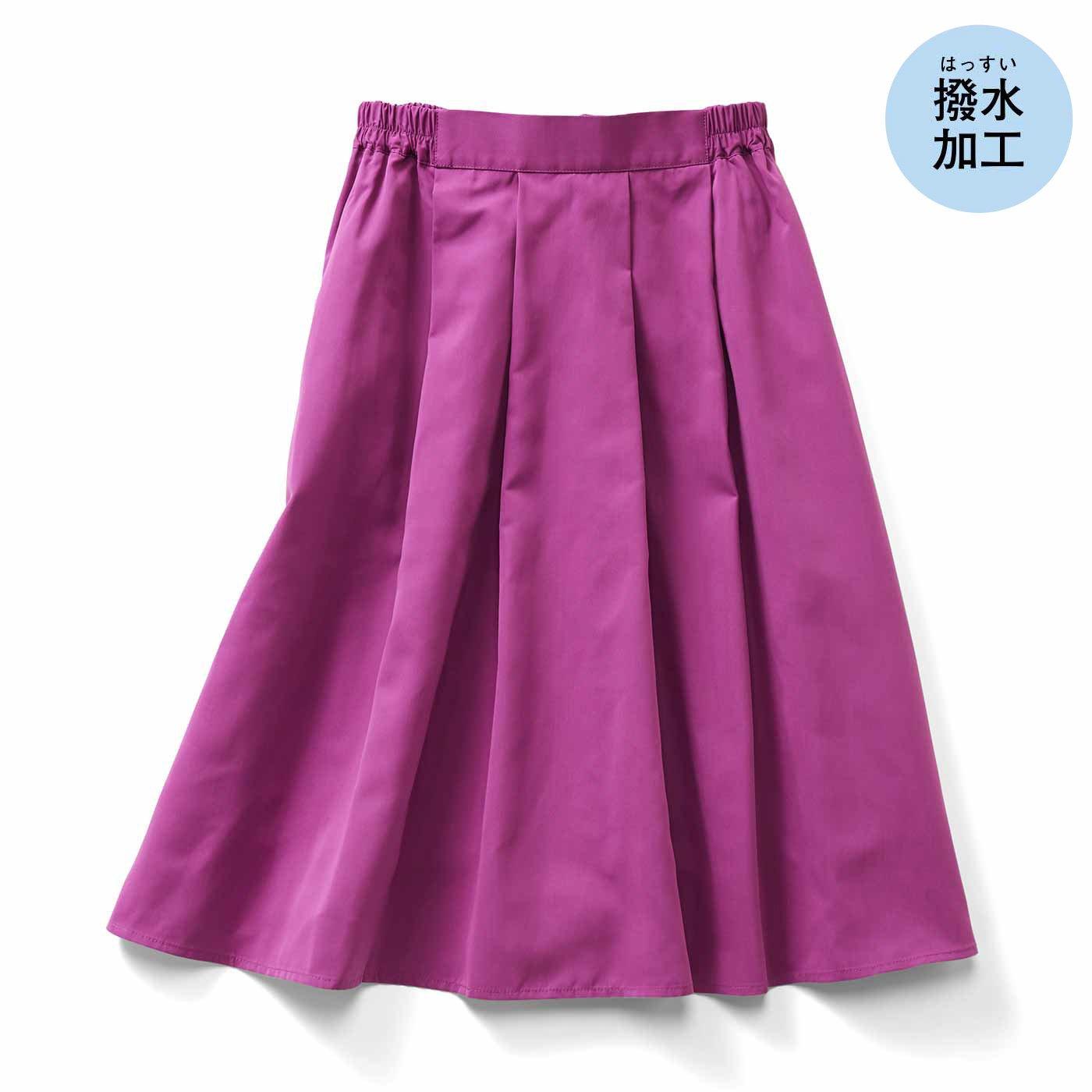 IEDIT[イディット] 撥(はっ)水機能できれいをキープする キレイ色Aラインスカート〈ピンク〉