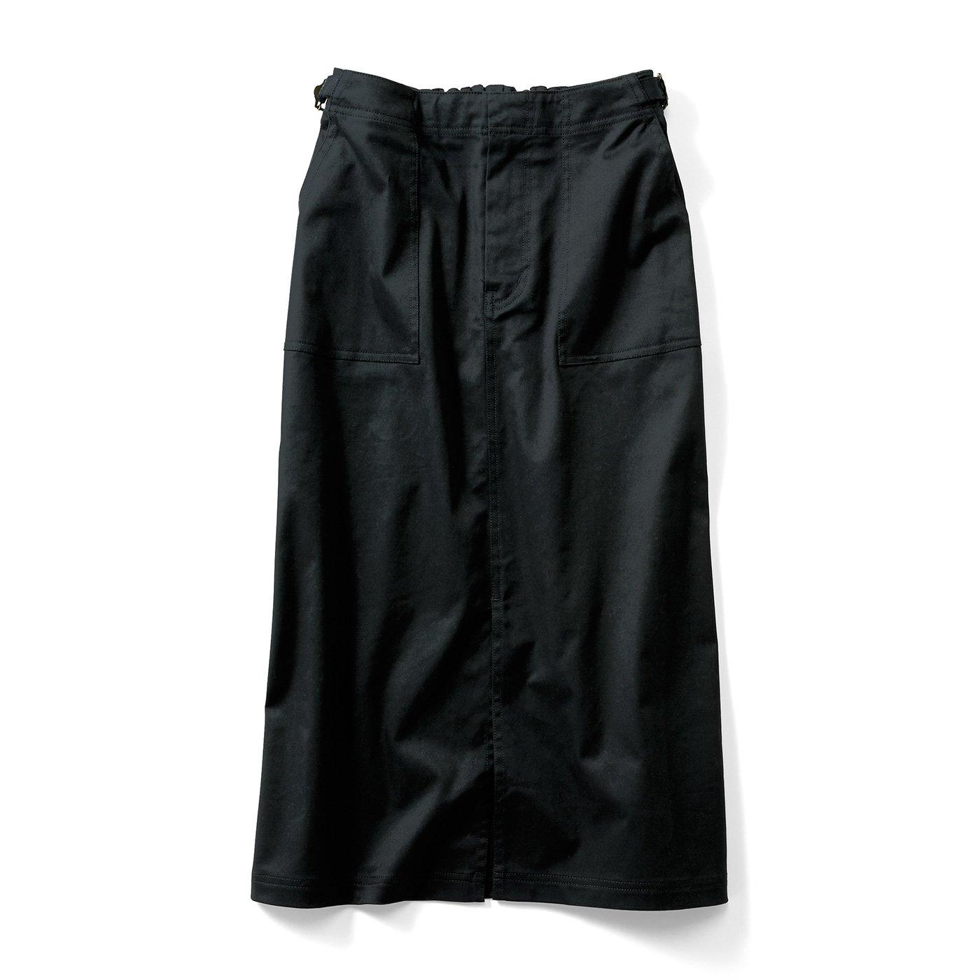 IEDIT[イディット] Iラインシルエットの ミリタリーテイストロングスカート〈ブラック〉