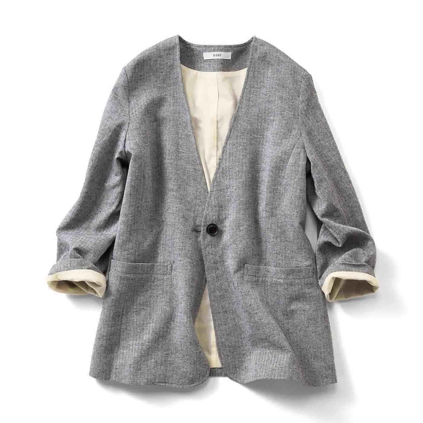 IEDIT[イディット] リネン混素材のノーカラーラフジャケット〈ブラック〉