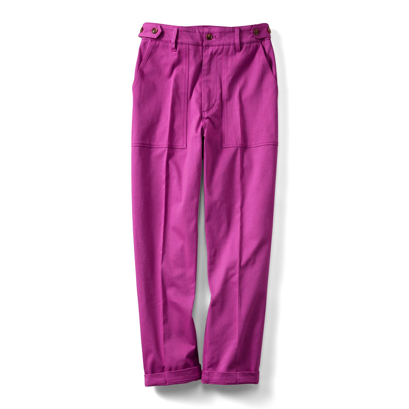 IEDIT[イディット] カラーを楽しむ ウエスト調整機能付き センタープレスのきれいめベイカーパンツ〈ピンク〉