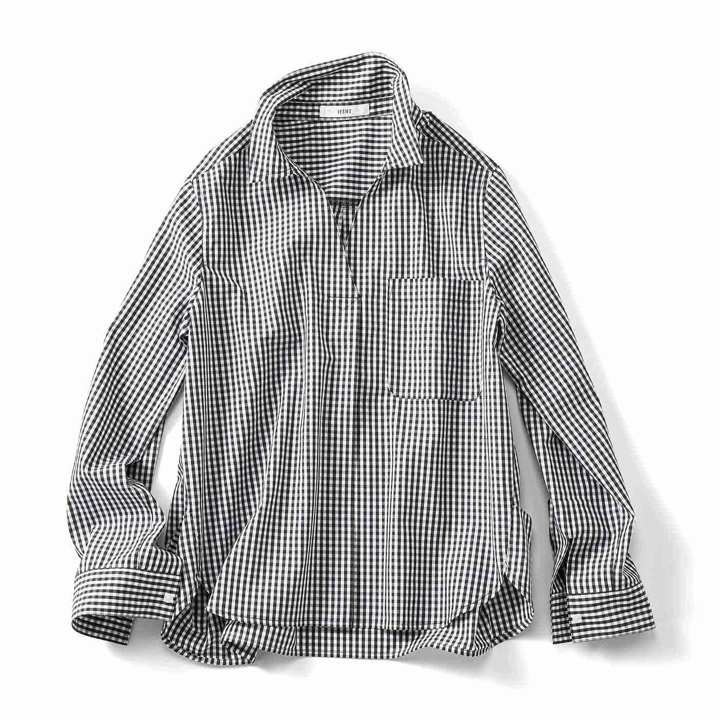 IEDIT[イディット] ワイヤー入り衿で着こなし自在 スキッパーシャツプルオーバー〈ブラックギンガム〉