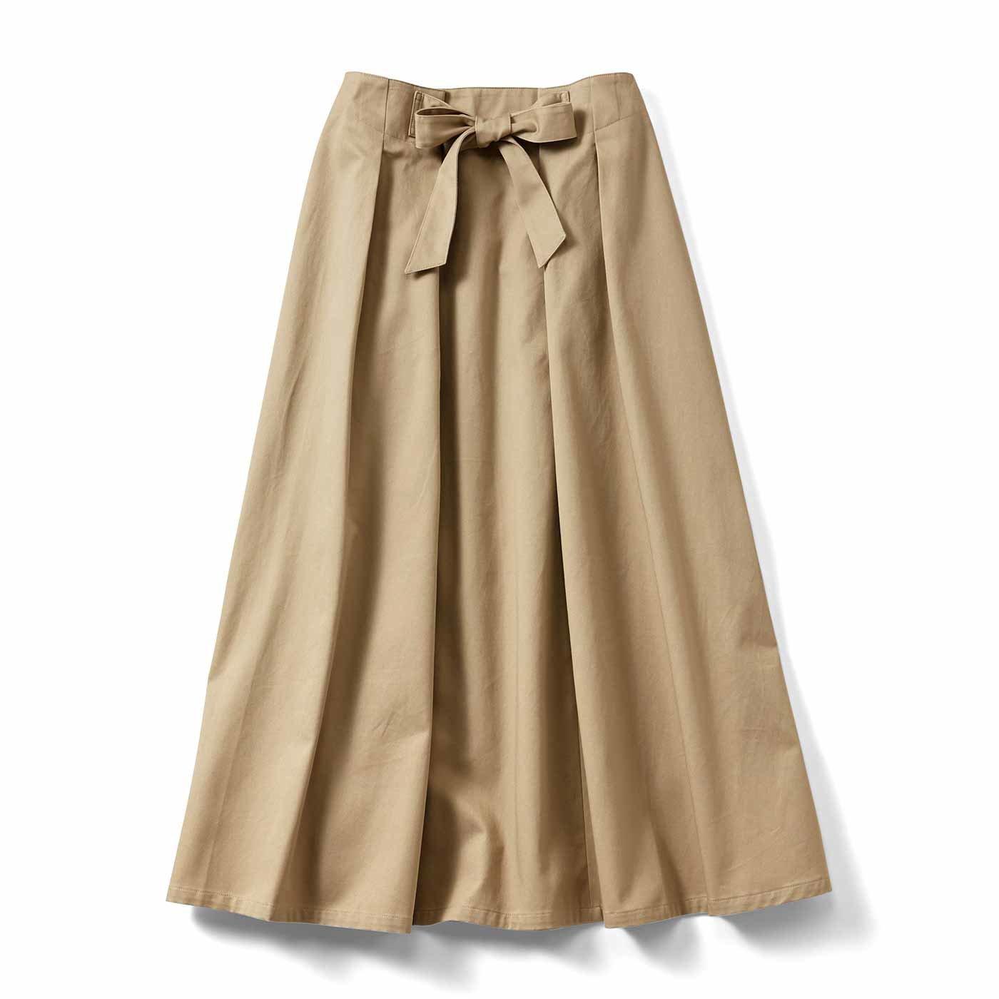 IEDIT[イディット] フレアーラインがきれいに広がる ロングスカート〈ベージュ〉