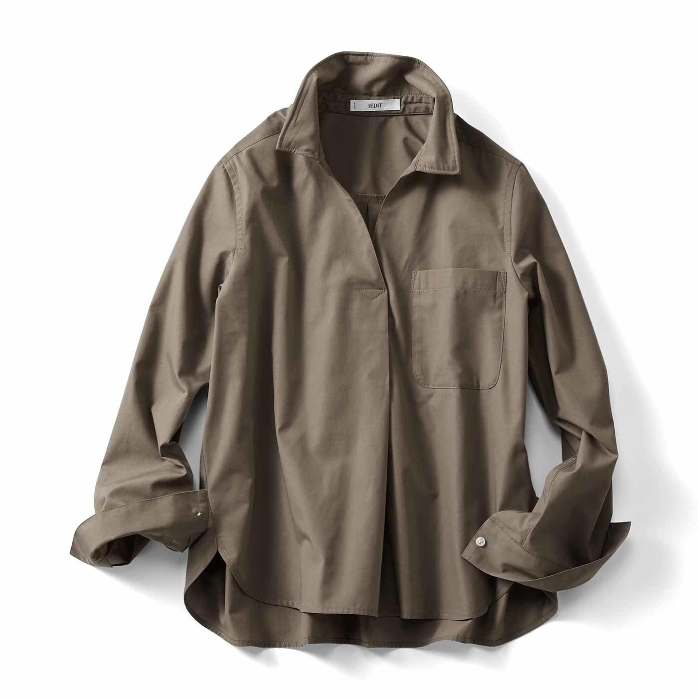 IEDIT[イディット] ワイヤー入り衿で着こなし自在 スキッパーシャツプルオーバー〈カーキ〉