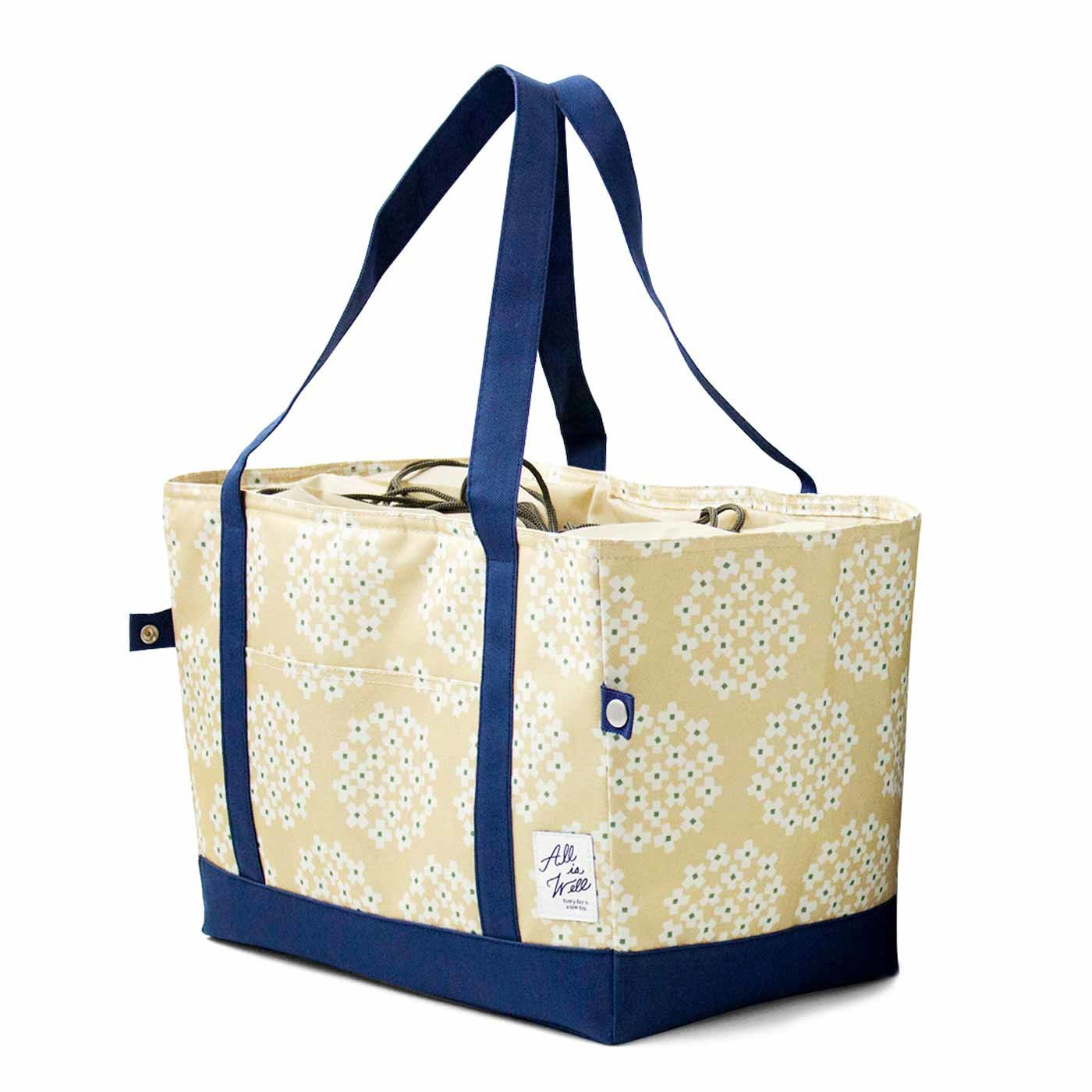 コンパクトになる 花柄・保冷買い物かごバッグ