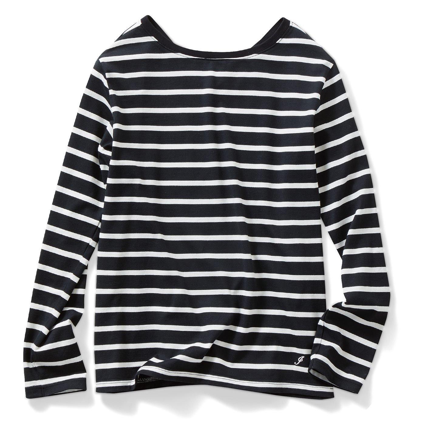 IEDIT[イディット]  カリフォルニアコットンのバックVネックボーダーTシャツ〈ブラック〉