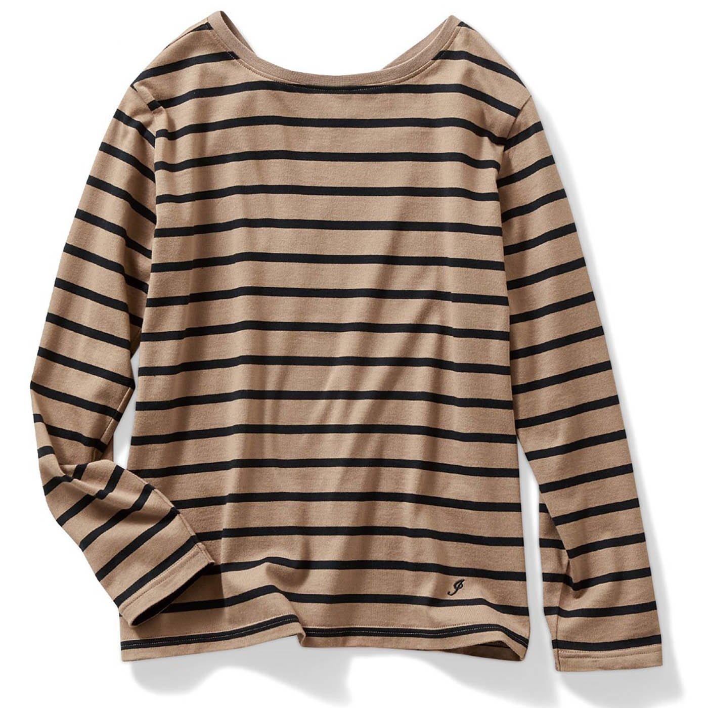 IEDIT[イディット]  カリフォルニアコットンのバックVネックボーダーTシャツ〈ブラウン〉