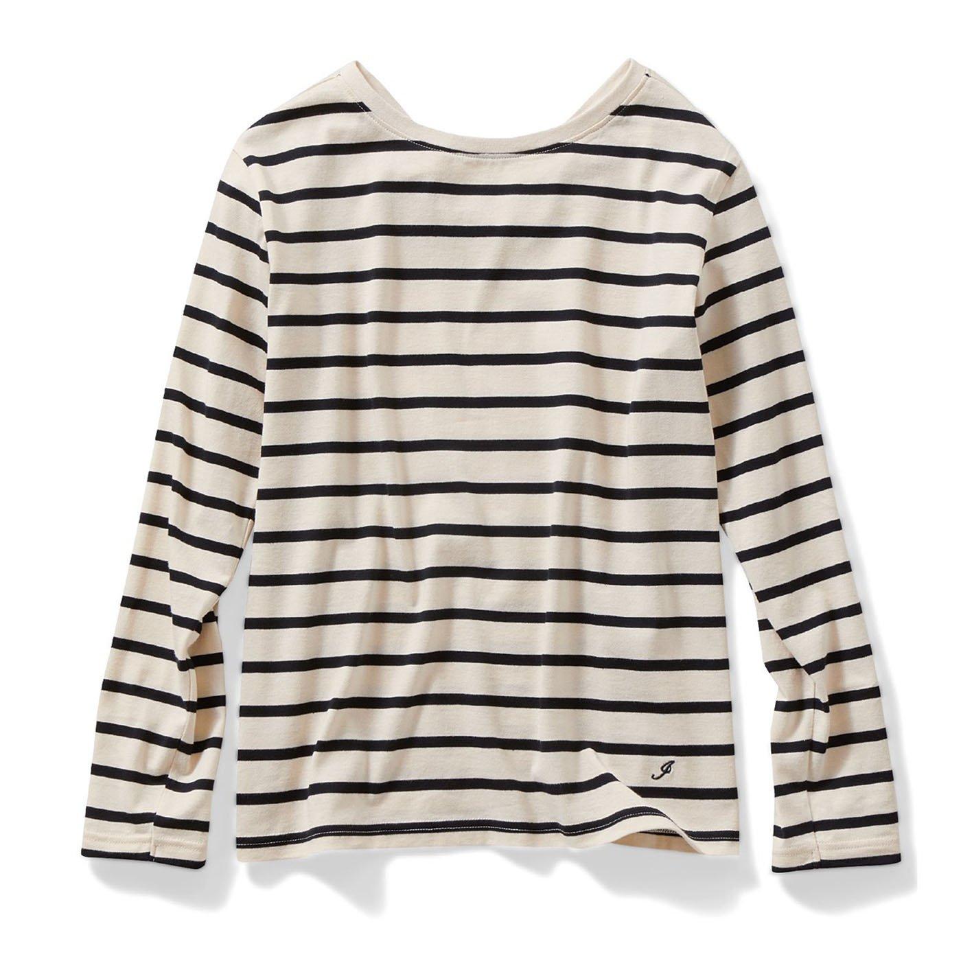 IEDIT[イディット]  カリフォルニアコットンのバックVネックボーダーTシャツ〈アイボリー〉