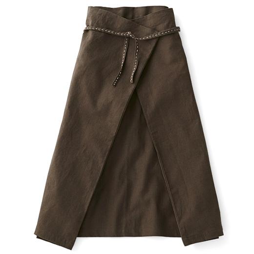 チャレンジド・クリエイティブ・プロジェクト ハンドステッチがやさしい 自在に着られる リネン混ラップスカートの会