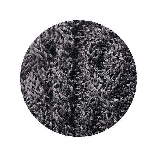 アラン模様のざっくりとした編み地。