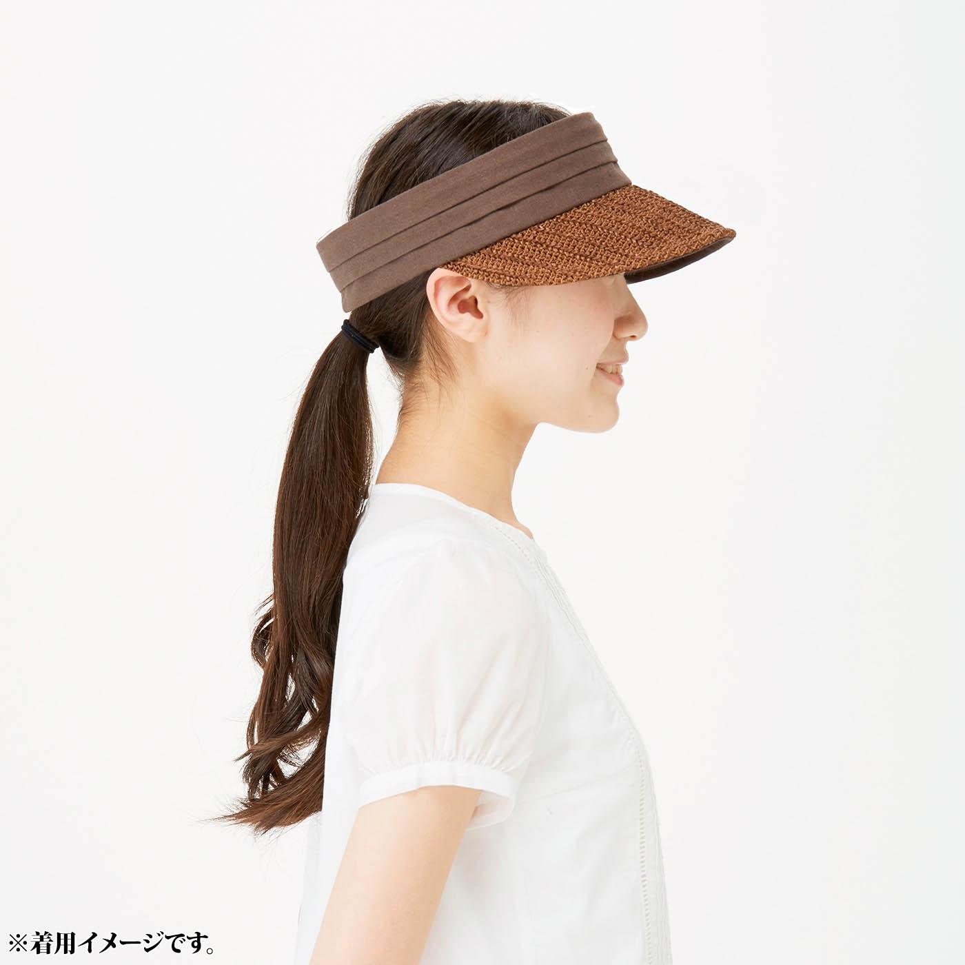 これは参考画像です。むれてヘアスタイルのくずれが気になるときはサンバイザーに。