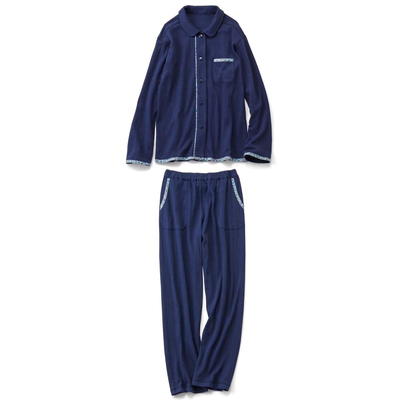 【おはだが気になるみんなへ】わきに縫い目がない 寝心地の良さに感動!ゆるふわキルティングパジャマ〈ネイビー〉
