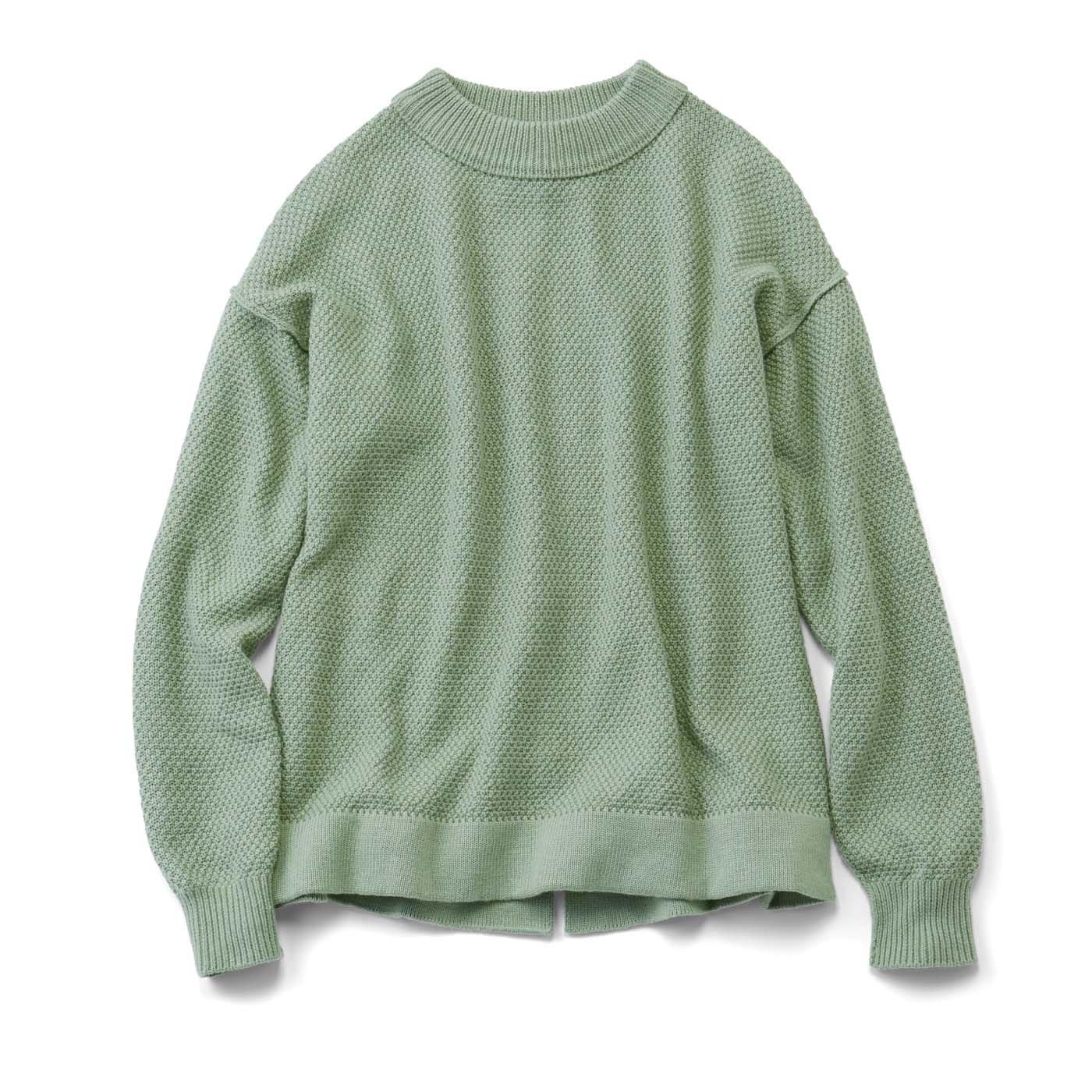 【おはだが気になるみんなへ】コットンシルク素材のかのこ編みアウトリンキングニット〈アーモンドグリーン〉